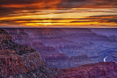Sunset At Grand Canyon Print by Andrew Soundarajan