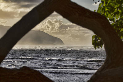 Haleiwa Photograph - Sunset At Haleiwa Beach Oahu Hawaii-framed By Nature by Douglas Barnard