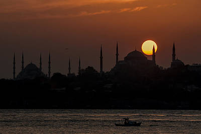 Sunset At Historical Peninsula In Istanbul Print by Ayhan Altun
