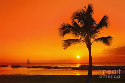 Sunset Photograph - Sunset At Ko Olina Resort Oahu by Eric Evans