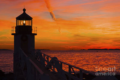 Sunset At Marshall Point Lighthouse At Sunset Maine Print by Keith Webber Jr