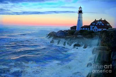 Portland Head Lighthouse Painting - Sunset At Portland Head Lighthouse by Earl Jackson