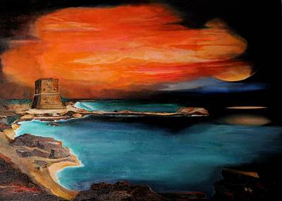 Docking Painting - Sunset At Pozzillo Tower  by Daniela Giordano