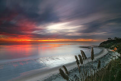 Long Exposure Photograph - Sunset At Swamis Beach 4 by Larry Marshall