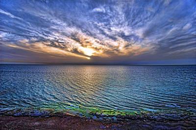 Kosher Digital Art - Sunset At The Cliff Beach by Ron Shoshani