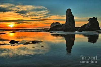 Sunset At The Sea Stacks Print by Adam Jewell