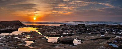 Widescreen Photograph - Sunset At The Tidepools II by Peter Tellone