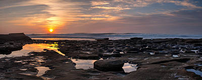 Widescreen Photograph - Sunset At The Tidepools IIi by Peter Tellone