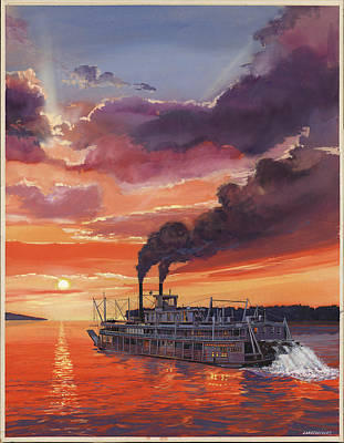 Mississippi River Painting - Sunset Bald Eagle Steamboat by Don  Langeneckert