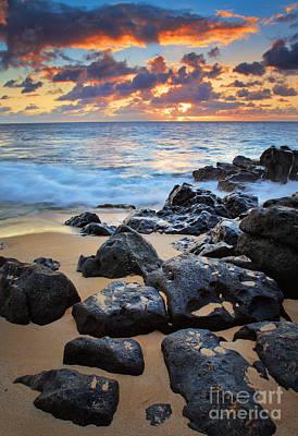 Sunset Beach Print by Inge Johnsson