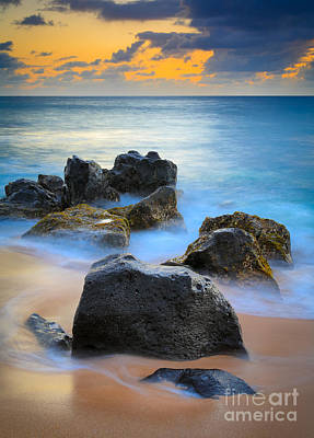 Sunset Beach Rocks Print by Inge Johnsson