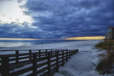 Sand Fences Digital Art - Sunset Boardwalk by Michael Thomas