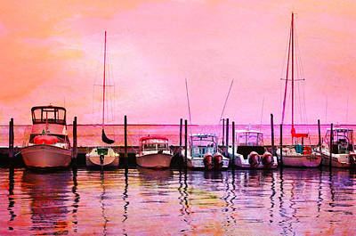 Sunset Boats Print by Laura Fasulo