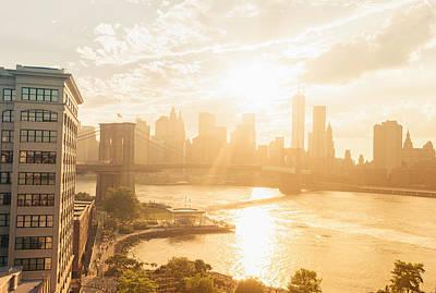 Lower Manhattan Photograph - Sunset - Brooklyn Bridge - New York City by Vivienne Gucwa