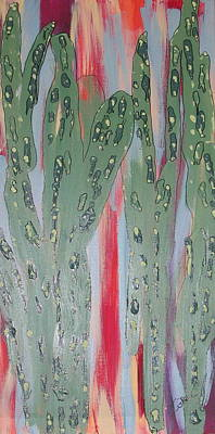 Totem Pole Painting - Sunset Cactus 1 by Marcia Weller-Wenbert