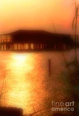 Sunset Camp On Lake Pontchartrain In New Orleans Louisiana Print by Michael Hoard