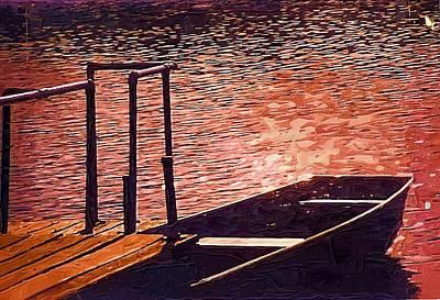 Canoe Mixed Media - Sunset Canoe by Mitchell Gibson
