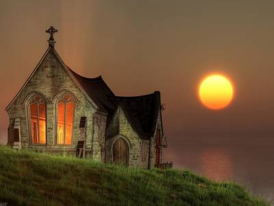 Sunset Chapel By The Sea Print by Christian Art