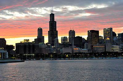 sunset Chicago Print by David Flitman