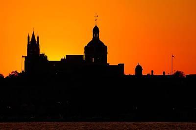 Sunset City Semi-silhouette Print by Paul Wash