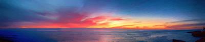 Sunset Cliffs Panorama Painting Print by John Haldane