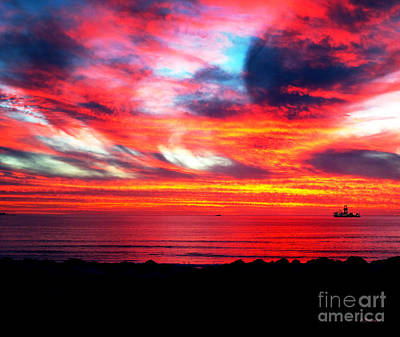 Southafrica Photograph - Sunset Dolphin Beach Cape Town South Africa by Charl Bruwer