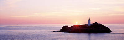 Sentry Photograph - Sunset, Godrevy Lighthouse, Cornwall by Panoramic Images
