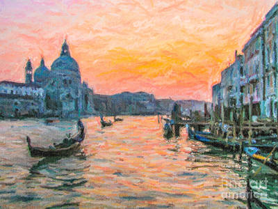 Architecture Digital Art - Sunset Grand Canal Venice by Liz Leyden