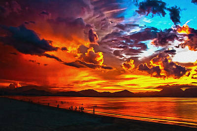 Abstract Beach Landscape Digital Art - Sunset Happiness by Georgiana Romanovna