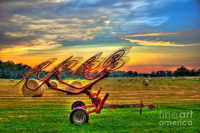 Sunset Hayrake Resting Print by Reid Callaway