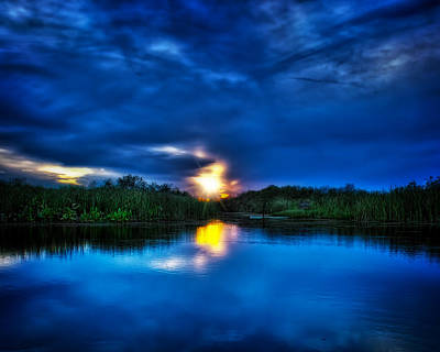 Sunset In Blue Print by Mark Andrew Thomas
