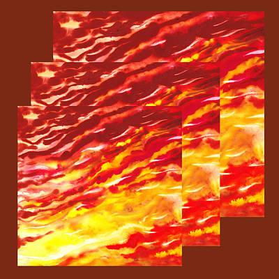 Creative Painting - Sunset In Desert Abstract Collage  by Irina Sztukowski