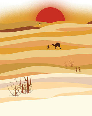 Desert Digital Art - Sunset In The Desert by Neelanjana  Bandyopadhyay