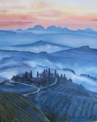 Sunsets In Tuscany Italy Original by Lisa Boyd
