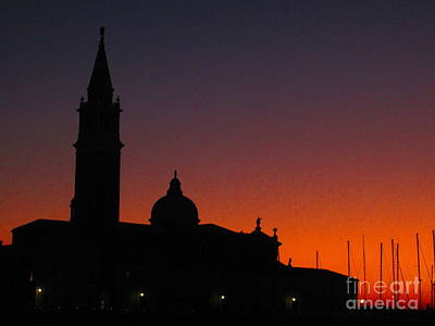 Sunset In Venice Print by C Lythgo