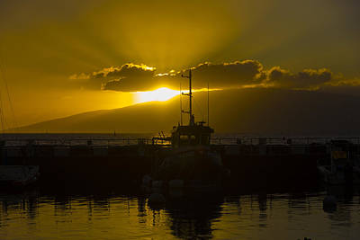 Sunset Lahaina Marina Print by Norman Blume