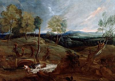 Dutch Shepherd Painting - Sunset Landscape With A Shepherd And His Flock by Anthony van Dyck