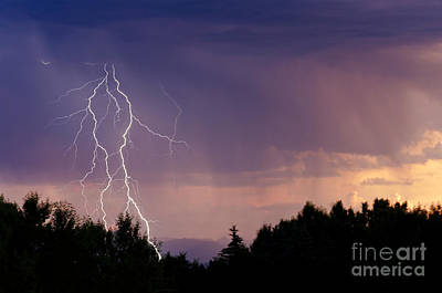 Sunset Lightning Print by Dee Cresswell