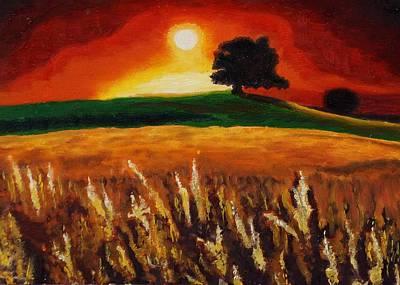 Yoga Painting - Sunset by Mila Kronik