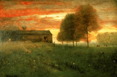 Meadow Painting - Sunset, Montclair, 1892 by George Snr. Inness
