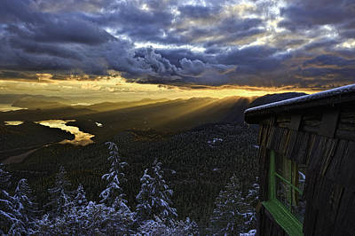Sunset Mt Blaine-golden Light Beams-1 Original by Evan Spellman