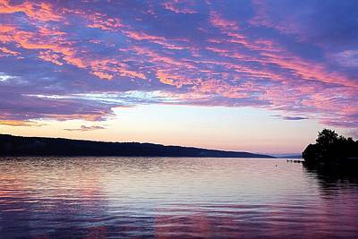 Sunset On Cayuga Lake Cornell Sailing Center Ithaca New York Print by Paul Ge