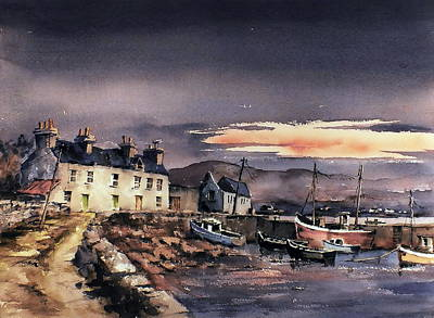 Sunset On Coraun Harbour Mayo Print by Val Byrne
