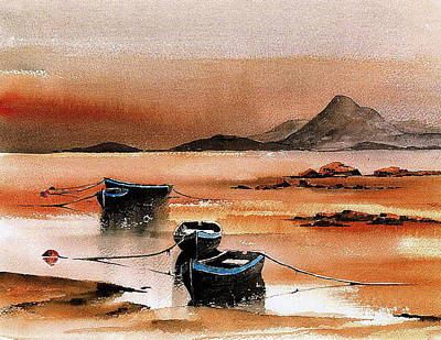 Tour Ireland Painting - Sunset On Croagh Patrick   Mayo by Val Byrne