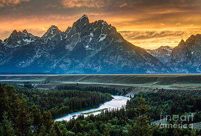 Sunset On Grand Teton And Snake River Print by Gary Whitton