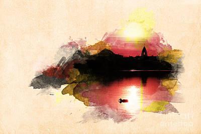 Sunset On Lake Print by Martin Dzurjanik
