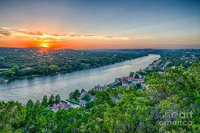 Landmarks Photograph - Sunset On Mount Bonnell by Tod and Cynthia Grubbs