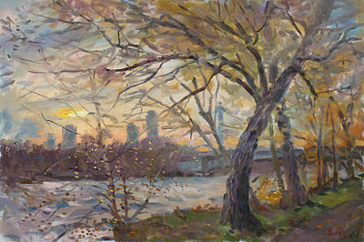 Autumn Landscape Painting - Sunset On Niagara River  by Ylli Haruni