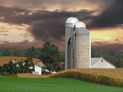 Sunset On The Farm Print by David Dehner