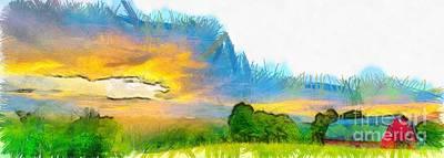 Sunset On The Farm Pencil Print by Edward Fielding